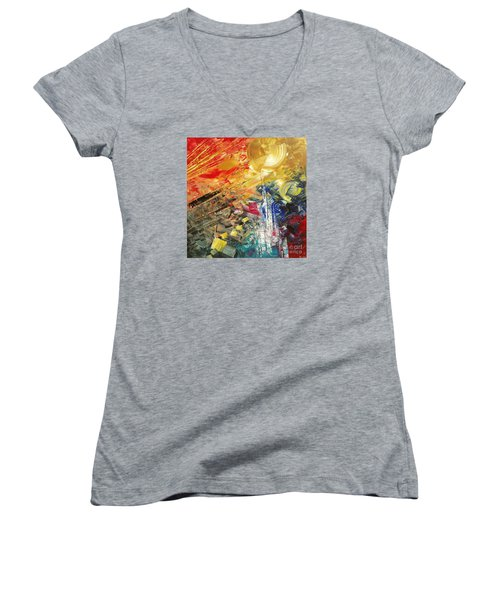 Women's V-Neck T-Shirt (Junior Cut) featuring the painting Breakfast In Vegas by Tatiana Iliina