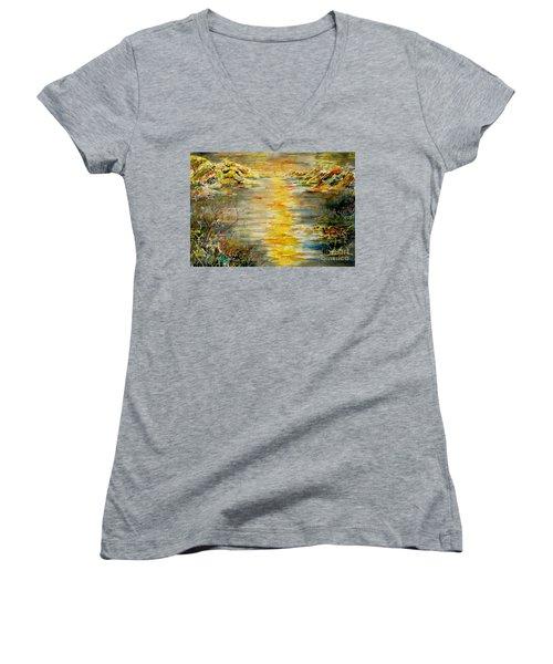 New Horizons Women's V-Neck T-Shirt (Junior Cut) by Alfred Motzer
