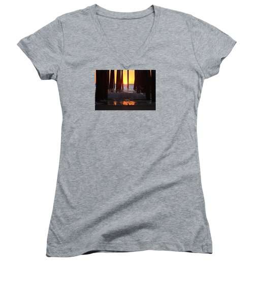 Breaking Dawn At The Pier Women's V-Neck T-Shirt (Junior Cut) by Robert Banach