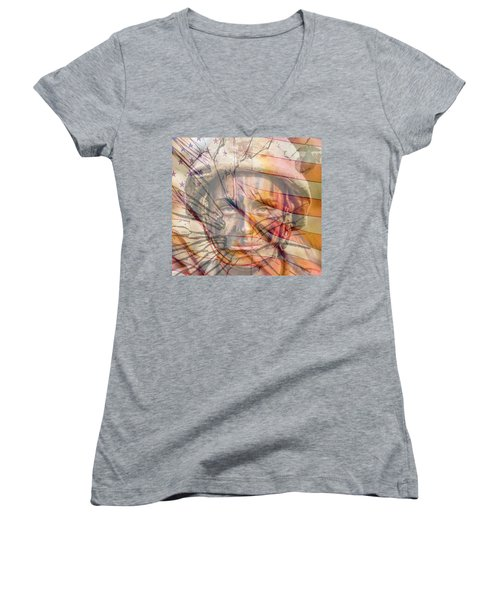 Breaking The Glass Ceiling Women's V-Neck T-Shirt (Junior Cut) by Mary Ward