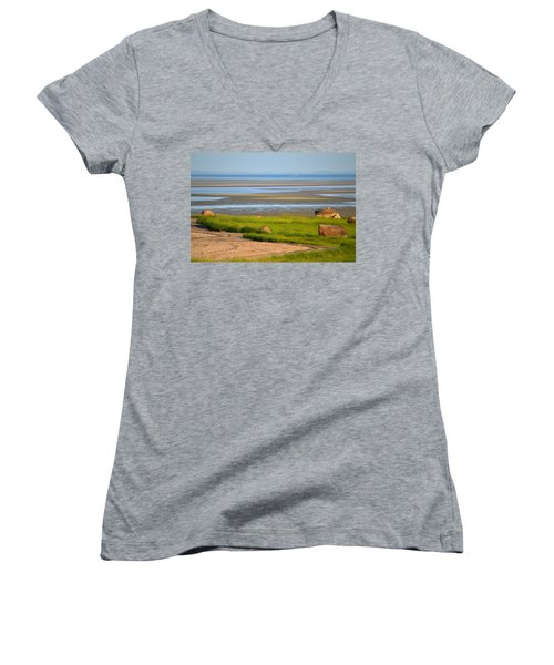 Breakwater Beach At Low Tide Women's V-Neck (Athletic Fit)