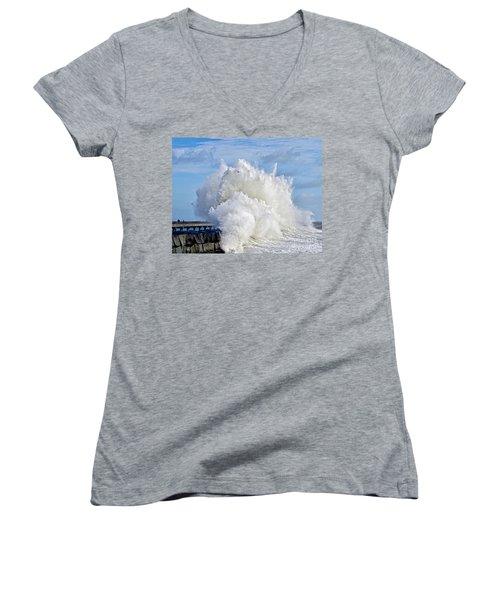 Breakwater Explosion Women's V-Neck T-Shirt (Junior Cut) by Michael Cinnamond