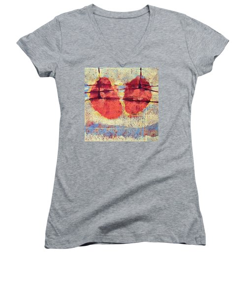 Women's V-Neck T-Shirt (Junior Cut) featuring the painting Breathe by Maria Huntley