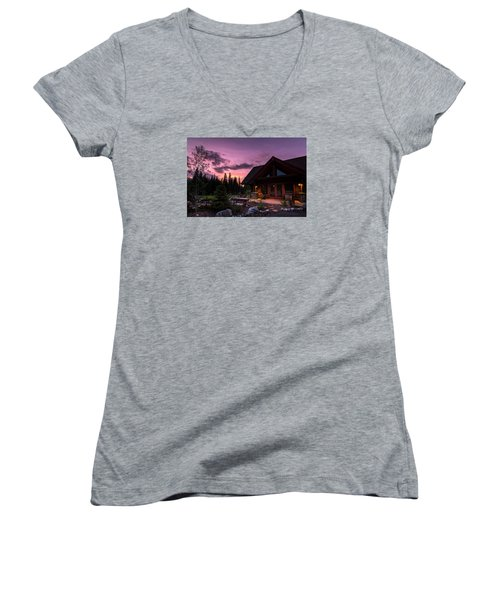 Breck Nordic Lodge Sunset Women's V-Neck (Athletic Fit)