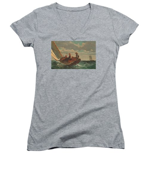 Women's V-Neck T-Shirt (Junior Cut) featuring the painting Breezing Up A Fair Wind - 1876 by Winslow Homer
