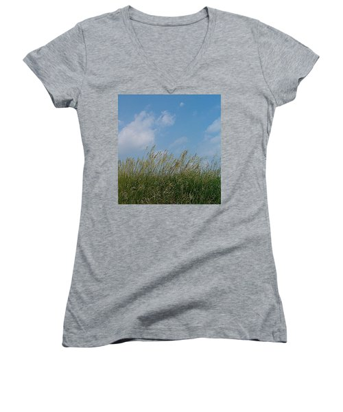 Women's V-Neck T-Shirt (Junior Cut) featuring the photograph Breezy Day by Sara  Raber
