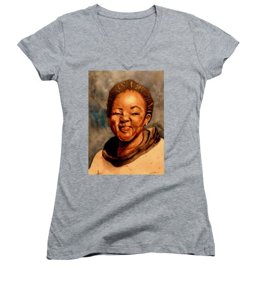 Women's V-Neck T-Shirt (Junior Cut) featuring the painting Brenda  by Betty-Anne McDonald
