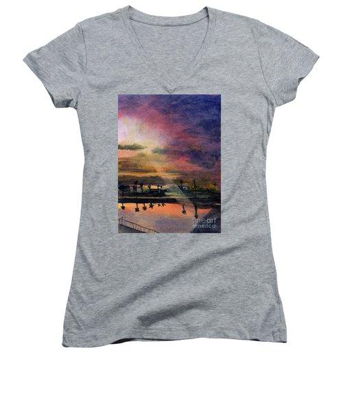 Brenda's Bay Women's V-Neck T-Shirt (Junior Cut) by Randy Sprout
