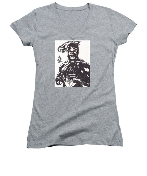 Women's V-Neck T-Shirt (Junior Cut) featuring the drawing Brian Westbrook by Jeremiah Colley