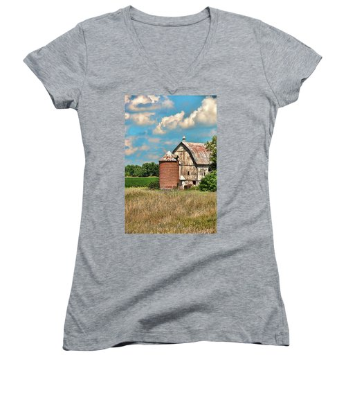 Brick Silo Women's V-Neck T-Shirt (Junior Cut) by Trey Foerster