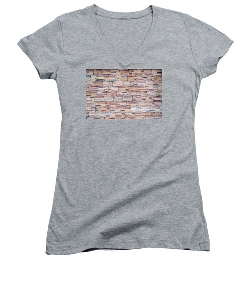 Women's V-Neck T-Shirt (Junior Cut) featuring the photograph Brick Tiled Wall by John Williams