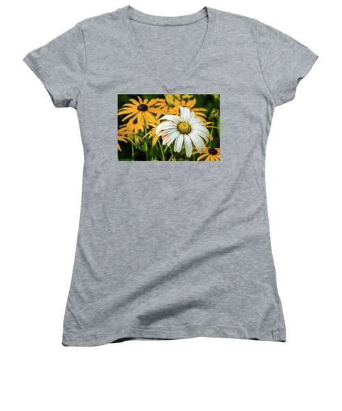 Women's V-Neck T-Shirt (Junior Cut) featuring the photograph Bride And Bridesmaids by Bill Pevlor