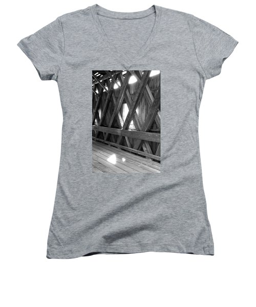 Women's V-Neck T-Shirt (Junior Cut) featuring the photograph Bridge Glow by Greg Fortier