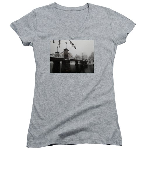 Bridge In Suspension 1867 Women's V-Neck T-Shirt (Junior Cut) by Robert Nickologianis