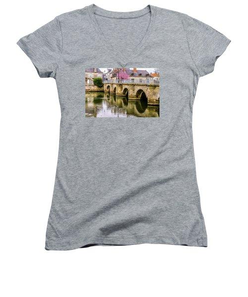 Bridge In The Loir Valley, France Women's V-Neck T-Shirt (Junior Cut) by Menachem Ganon