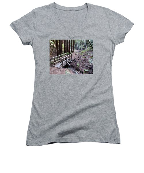Bridge In The Redwoods Women's V-Neck