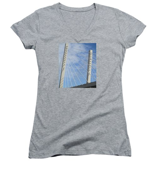 Bridge Women's V-Neck T-Shirt (Junior Cut) by Martin Cline