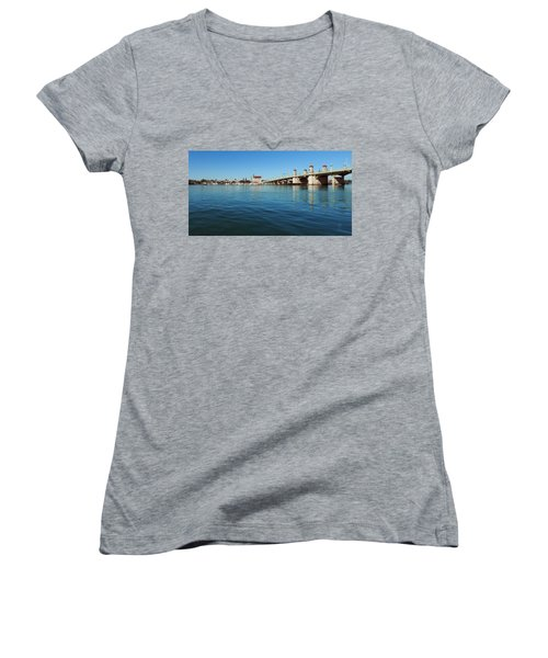 Women's V-Neck T-Shirt (Junior Cut) featuring the photograph Bridge Of Lions, St. Augustine by Rod Seel