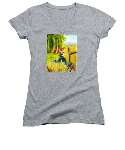Bridge Over Small Stream Women's V-Neck T-Shirt (Junior Cut) by Sherril Porter