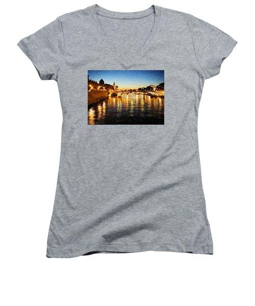 Bridge Over The Seine Women's V-Neck