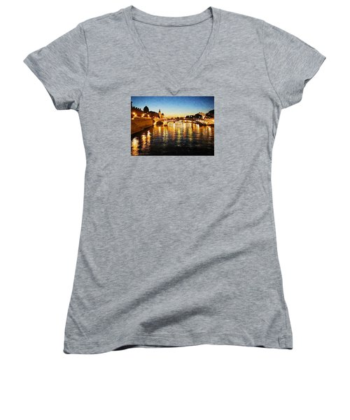 Bridge Over The Seine Women's V-Neck (Athletic Fit)