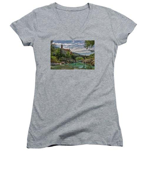 Women's V-Neck T-Shirt featuring the photograph Bridge Over The Soca - Kanal Slovenia by Stuart Litoff