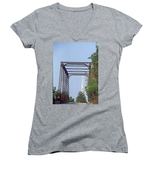 Bridge To God Women's V-Neck (Athletic Fit)