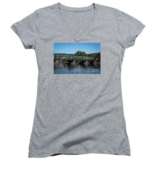 Bridge To Lambertville 2 Women's V-Neck T-Shirt (Junior Cut) by Judy Wolinsky