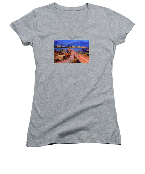 Bridge To Palm Beach Women's V-Neck T-Shirt (Junior Cut)