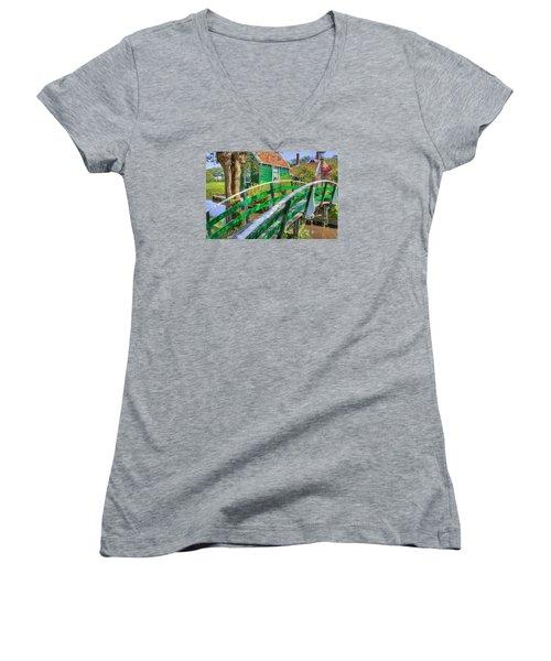 Bridge To The Village Women's V-Neck T-Shirt (Junior Cut) by Nadia Sanowar