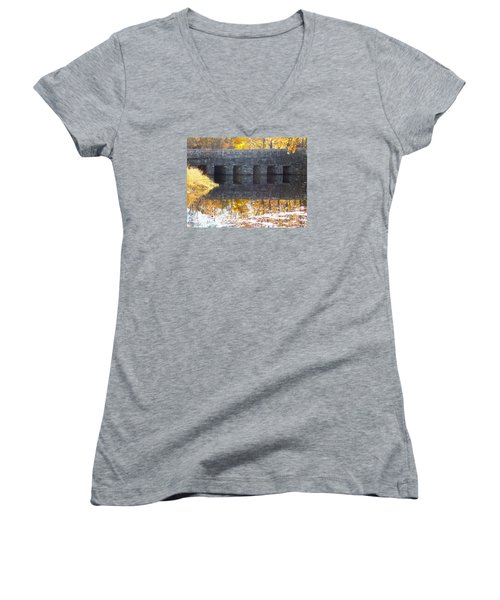 Bridges Reflection Women's V-Neck T-Shirt (Junior Cut) by Catherine Gagne