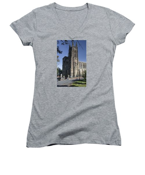 Bridlington Priory Women's V-Neck T-Shirt (Junior Cut) by David  Hollingworth