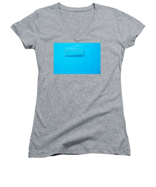 Women's V-Neck T-Shirt (Junior Cut) featuring the photograph Bright Blue Paint On Metal With Postbox by John Williams
