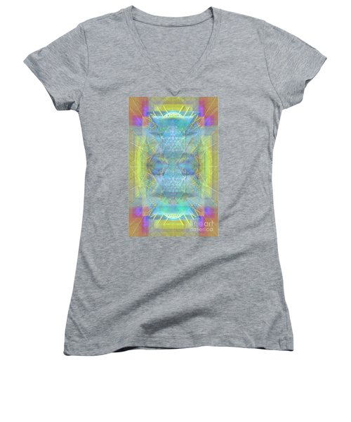 Bright Chalice Ancient Symbol Tapestry Women's V-Neck T-Shirt (Junior Cut) by Christopher Pringer