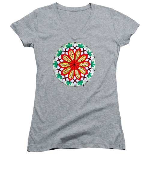 Bright Flower Women's V-Neck T-Shirt