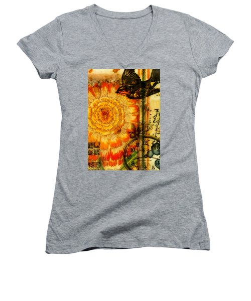 Bright Life Encaustic Women's V-Neck T-Shirt (Junior Cut) by Bellesouth Studio