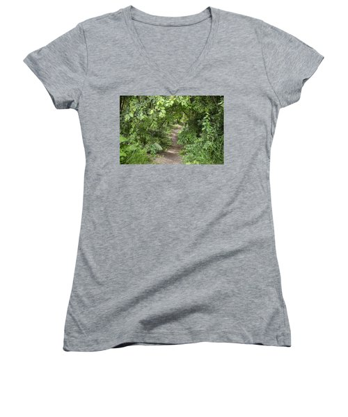 Bright Path In Leafy Forest Women's V-Neck