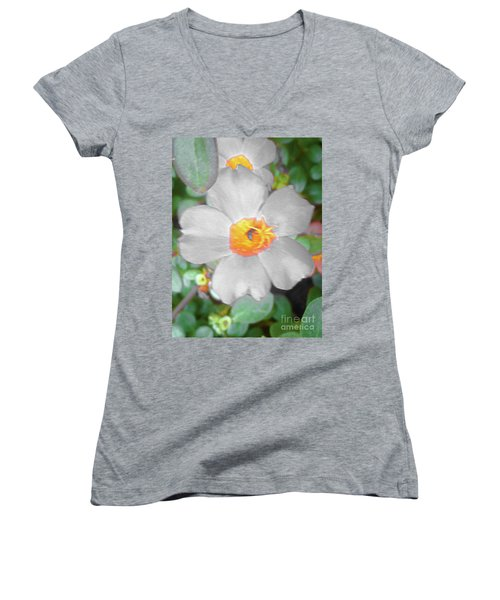 Bright White Vinca With Soft Green Women's V-Neck