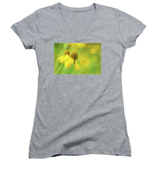 Bright Yellow Flower Women's V-Neck (Athletic Fit)