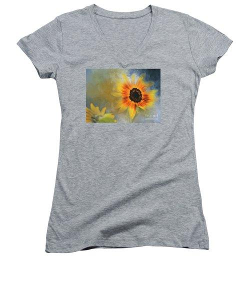 Brighter Than Sunshine Women's V-Neck T-Shirt (Junior Cut) by Eva Lechner