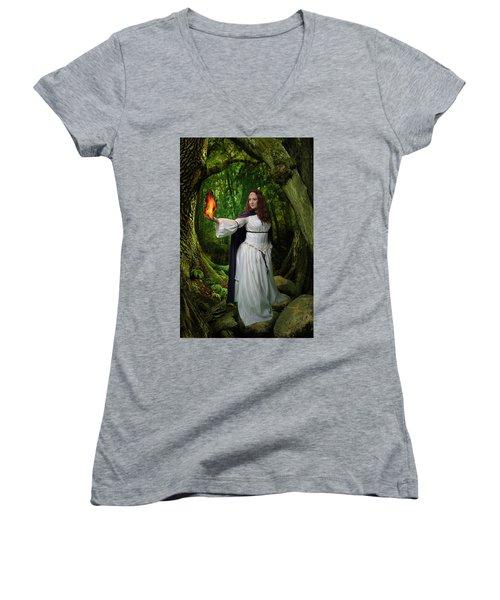 Brigid Women's V-Neck T-Shirt (Junior Cut) by David Clanton