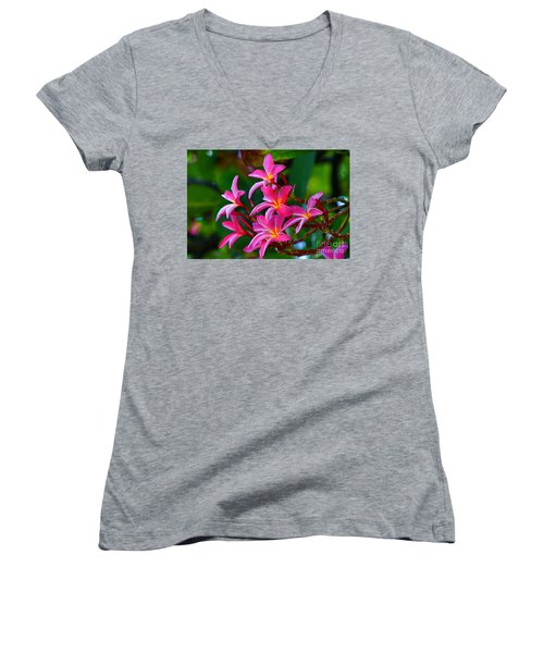 Brilliant Plumeria Women's V-Neck (Athletic Fit)