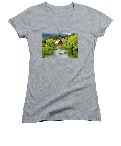 Brinnon Washington Barn By Pond Women's V-Neck T-Shirt (Junior Cut) by Teri Virbickis