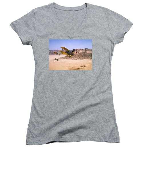 Women's V-Neck T-Shirt (Junior Cut) featuring the photograph Bristol Fighter - Aden Protectorate  by Pat Speirs
