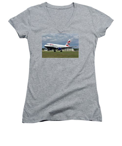 Women's V-Neck T-Shirt (Junior Cut) featuring the photograph British Airways A318-112 G-eunb by Tim Beach