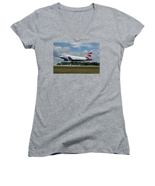 Women's V-Neck T-Shirt (Junior Cut) featuring the photograph British Airways Airbus A318-112 G-eunb by Tim Beach