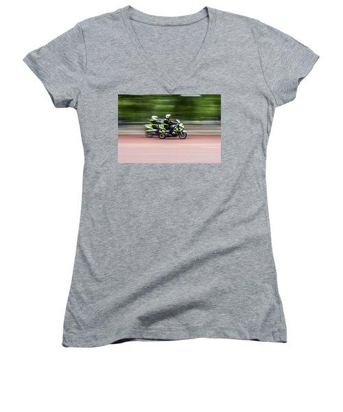 British Police Motorcycle Women's V-Neck