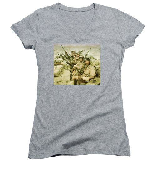 Women's V-Neck T-Shirt (Junior Cut) featuring the painting British Sas by Michael Cleere
