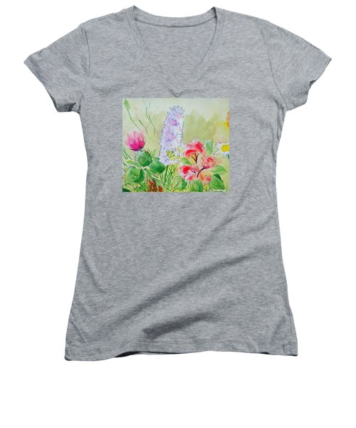 British Wild Flowers Women's V-Neck (Athletic Fit)