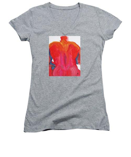 Broad Back Red Women's V-Neck T-Shirt
